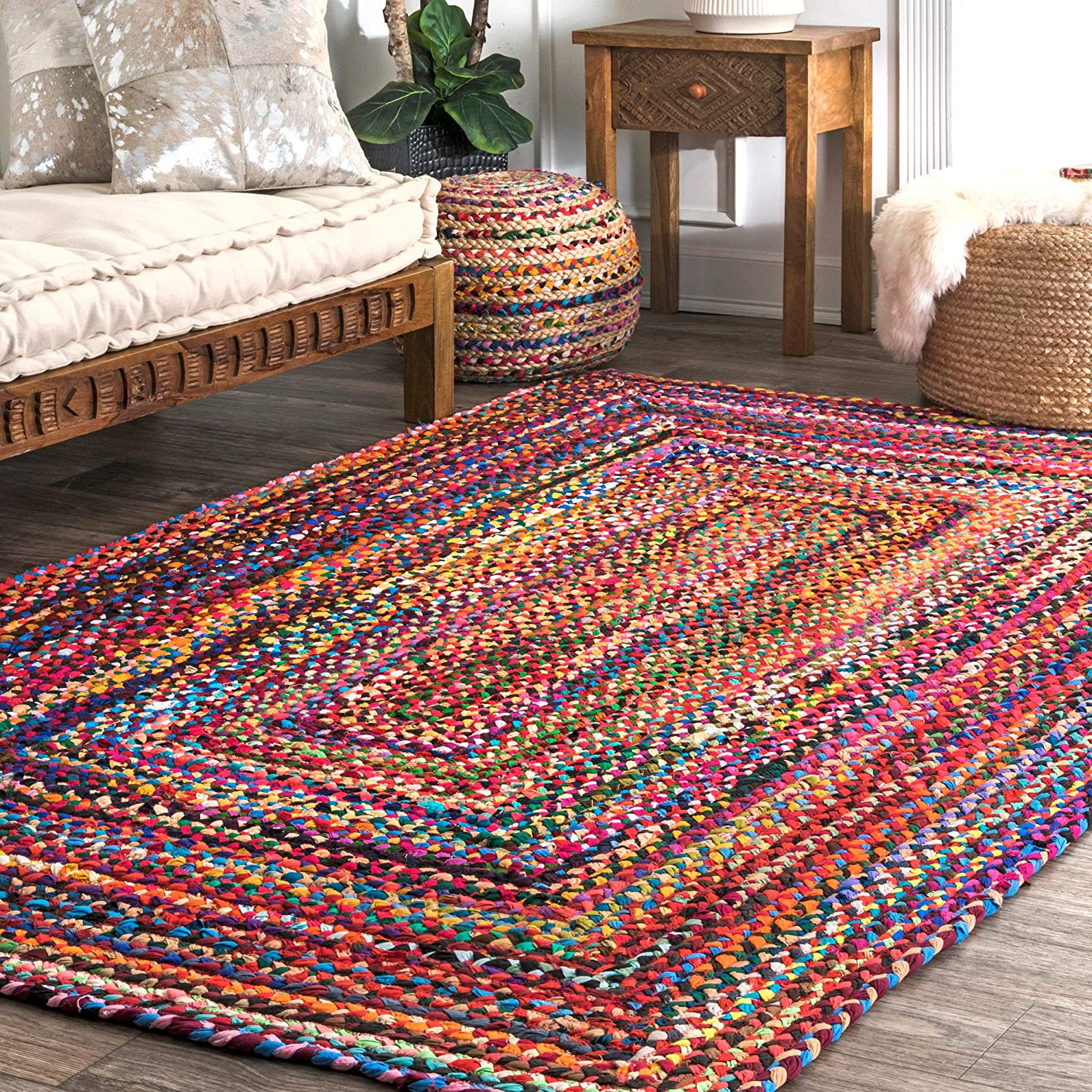 nuLOOM Hand Braided Bohemian Colorful Cotton Area Rug, Multi, 2' x 3'