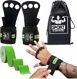 Gymnastics Grips with Full Palm Protection- Leather Hand Grips with Detachable Wrist Support for Pull Ups, Crossfit Training, WODs, Kettlebells & More - Crossfit Gloves for Extra Grip