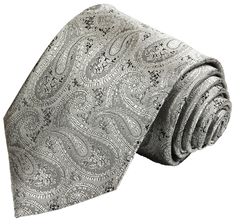 Krawatte von Paul Malone silber grau schwarz paisley Hochzeitskrawatte Bräutigam Tie v30