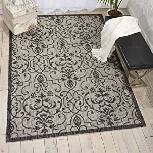 "Nourison Garden Party Ivory/Charcoal Indoor/Outdoor Area Rug 3 Feet 6 Inches by 5 Feet 6 Inches, 3'6""X5'6"""