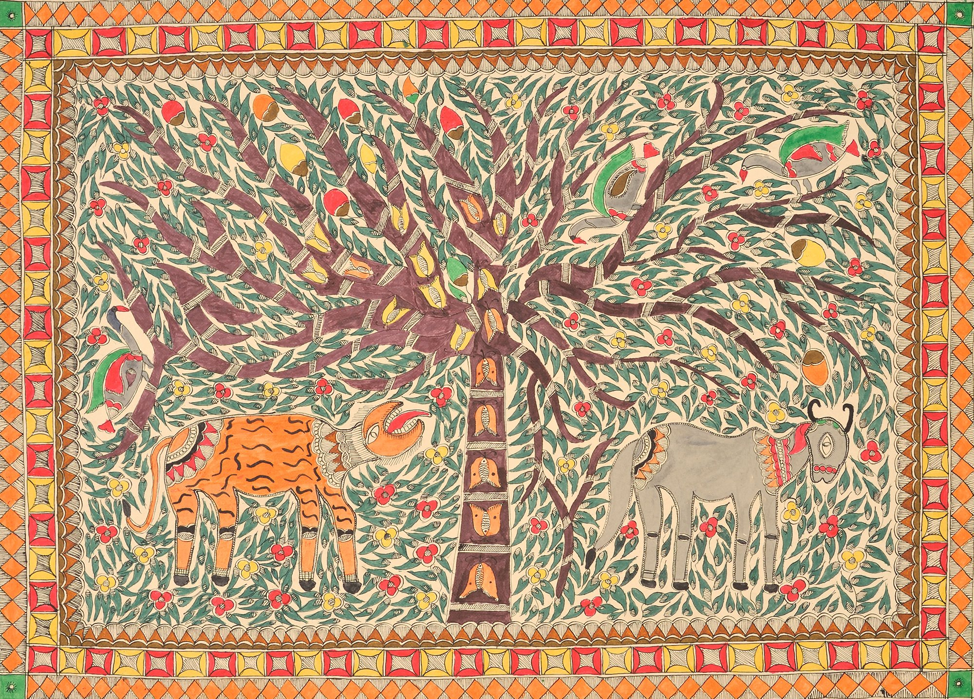 Tiger and Cow under a Tree - Madhubani Painting on Hand Made Paper - Folk Painting