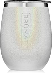 BrüMate Uncork'd XL 14oz Wine Glass Tumbler With Splash-proof Lid - Made With Vacuum Insulated Stainless Steel (Glitter White