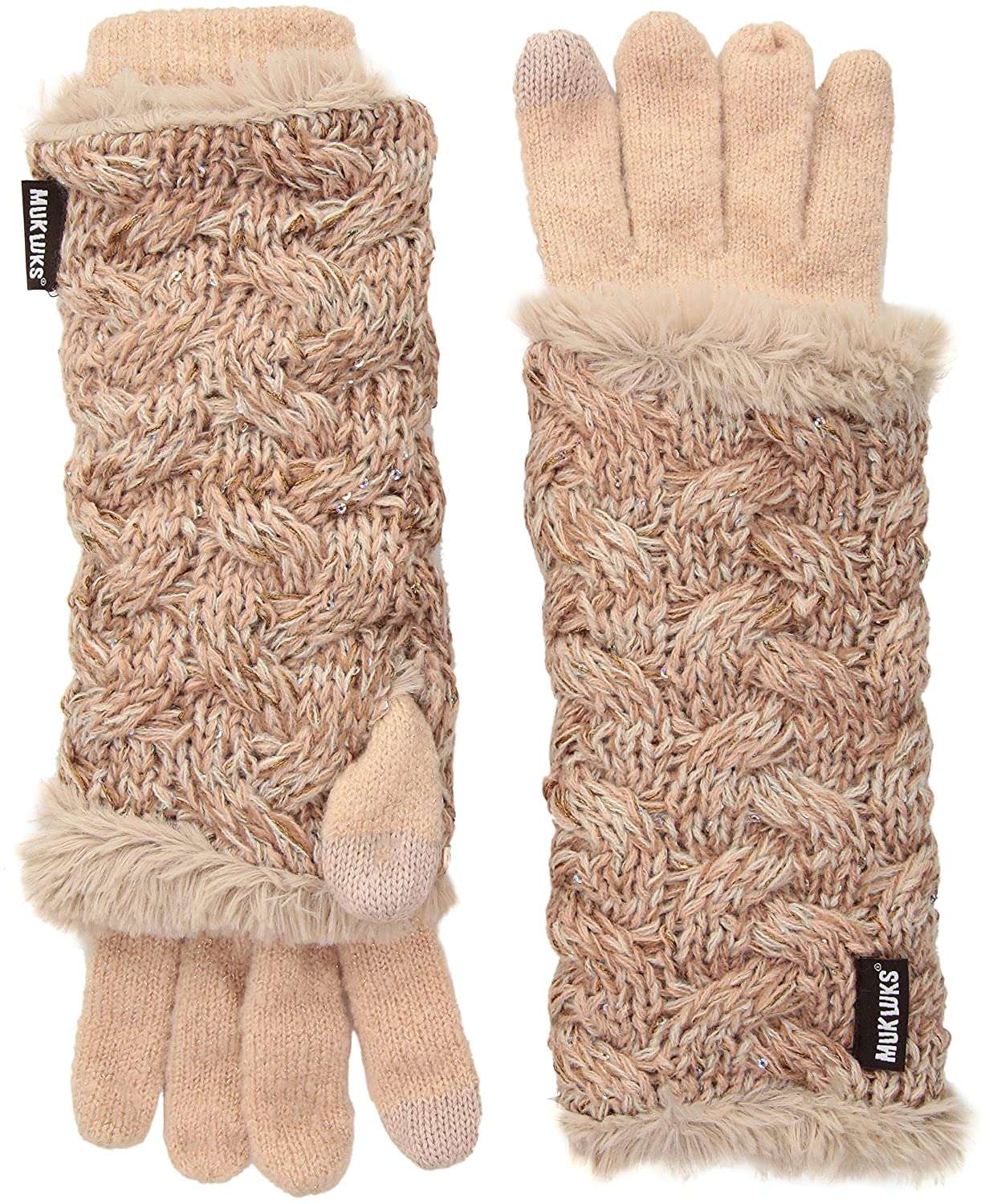 Muk Luks Women's You Are So Beautiful Three-In-One Gloves-Wavy Cable Fairisle One Size 0034504102-OS