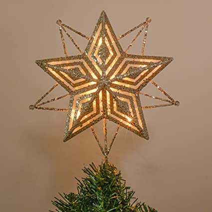 Valery Madelyn 11 28cm Pre Lit Gold Christmas Tree Topper Metal Star Tree Decorations With 10 Warm Led Lights Christmas Decorations Battery