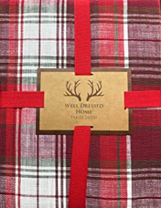 Well Dressed Home Tablecloth Holiday Christmas Checked Plaid Pattern in Shades of Red and White, with Thin Green Stripes, 70 Inches x 126 Inches