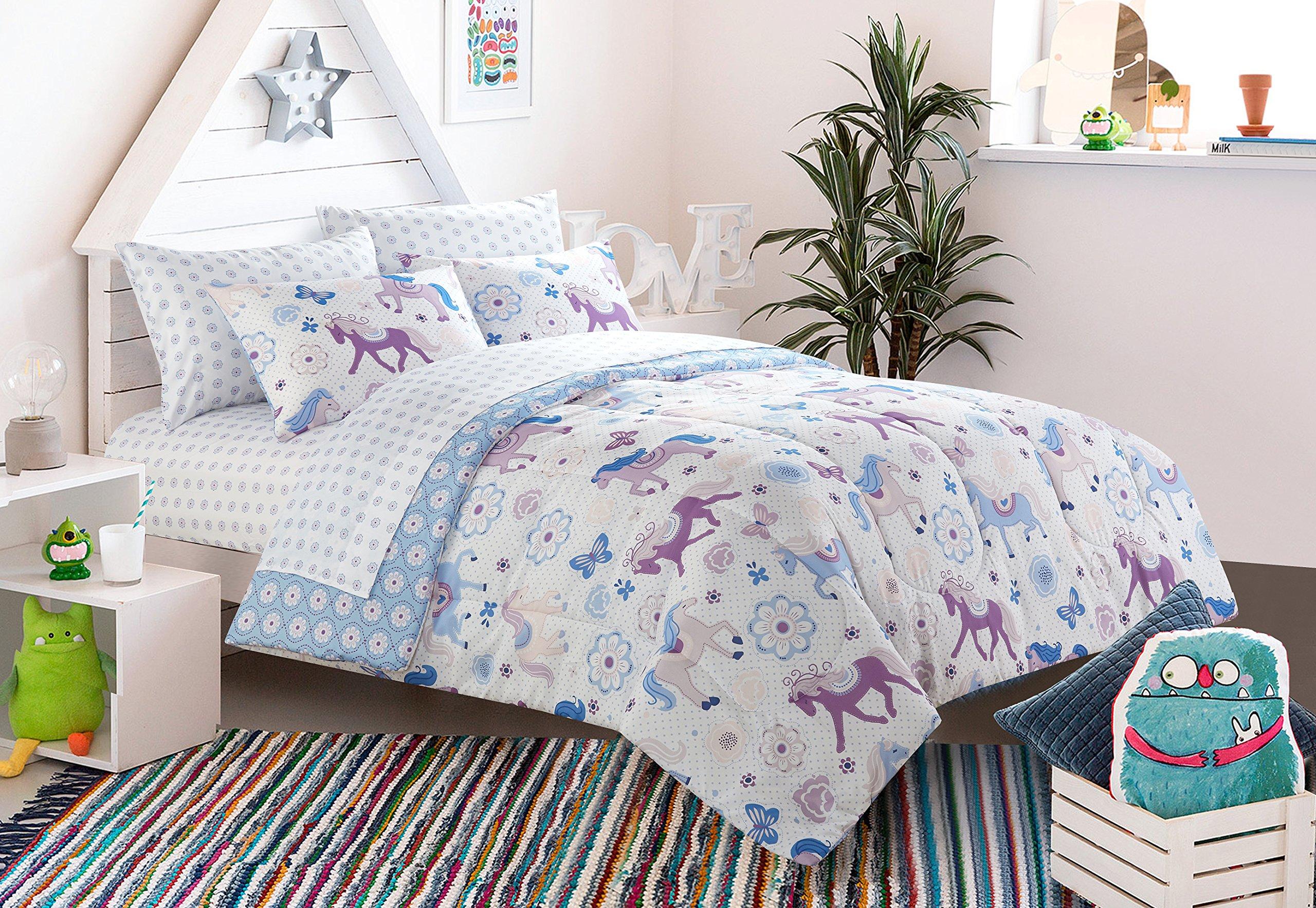 Heritage Kids Unicorn 4 Piece Toddler Comforter Set, Purple by Heritage Kids (Image #1)
