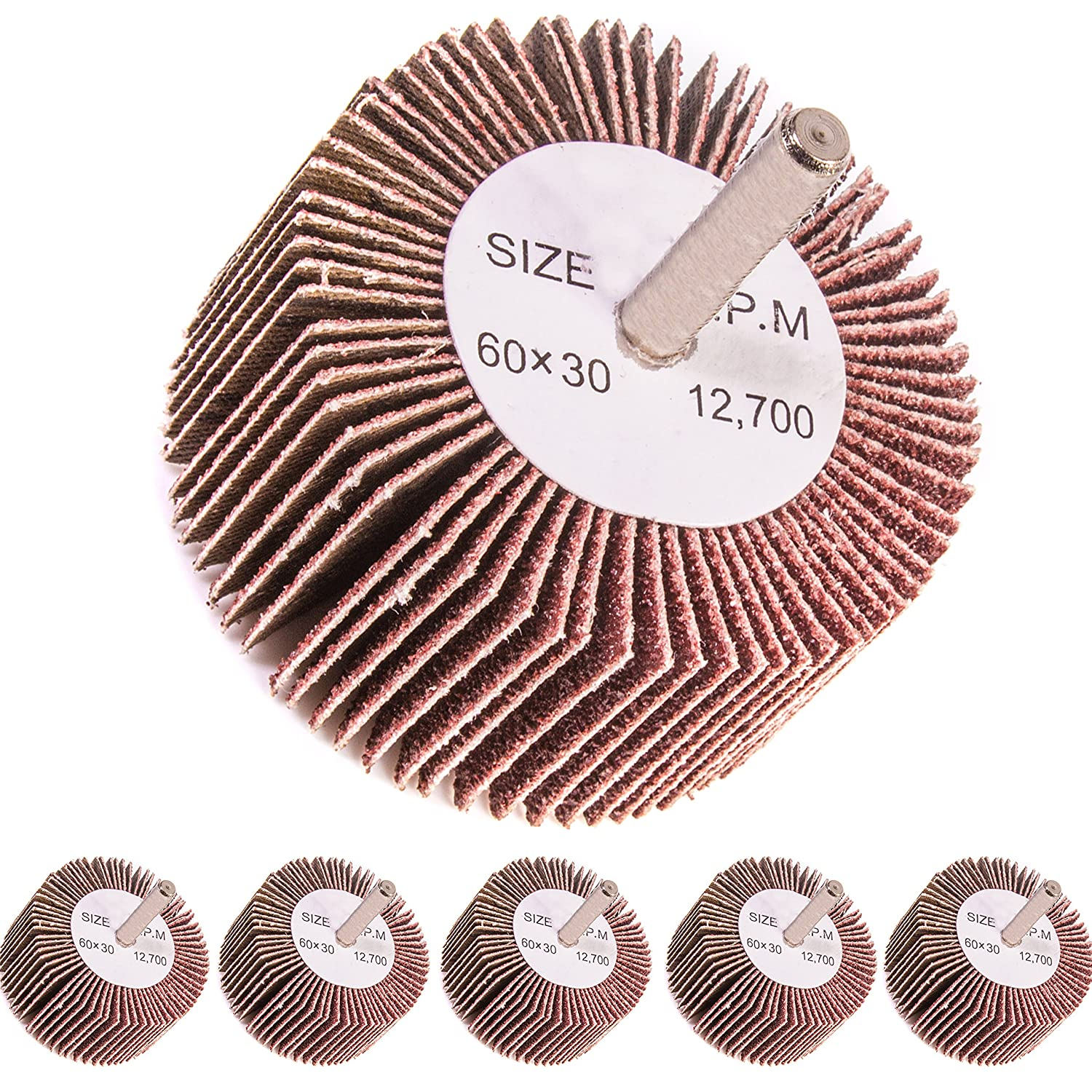 5x Coarse 80 Grit Flap Wheel Sanding Drill Bits - 6mm Shank - Abrasive Paint/Metal Remover White Hinge