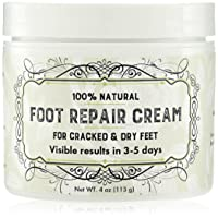 Natural Foot Moisturizer Cream - RESULTS Within Days Or Pay Nothing - Works Wonders. Have Beautiful Feet Again - for Cracked Heels, Dry, Flaky, Or Rough Foot - (4 Ounce)