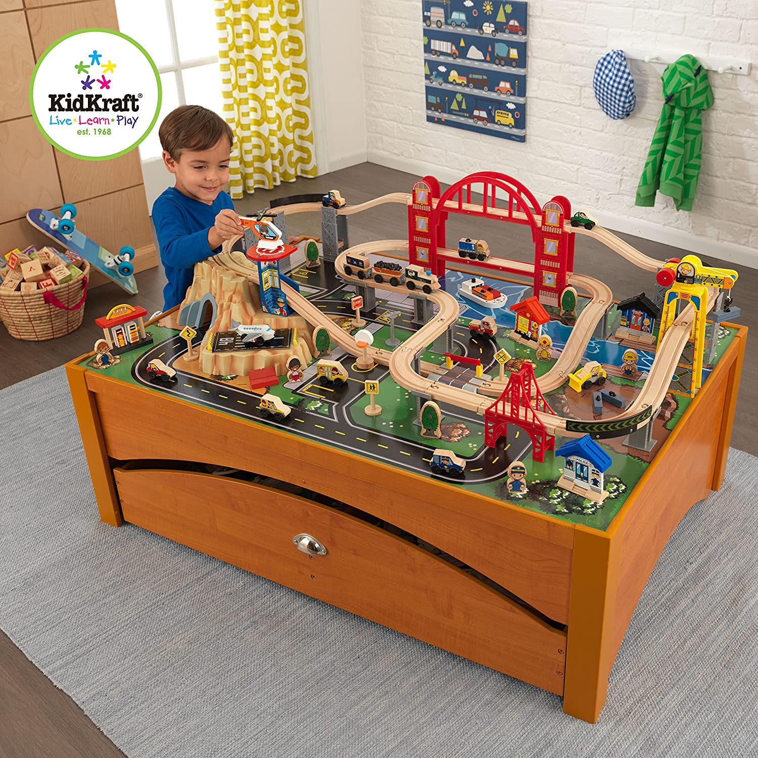 Amazon.com KidKraft Metropolis Train Set and Honey Table Train Toys u0026 Games  sc 1 st  Amazon.com : train set table for kids - pezcame.com