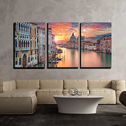 Wall26   3 Piece Canvas Wall Art   Venice. Image Of Grand Canal In Venice