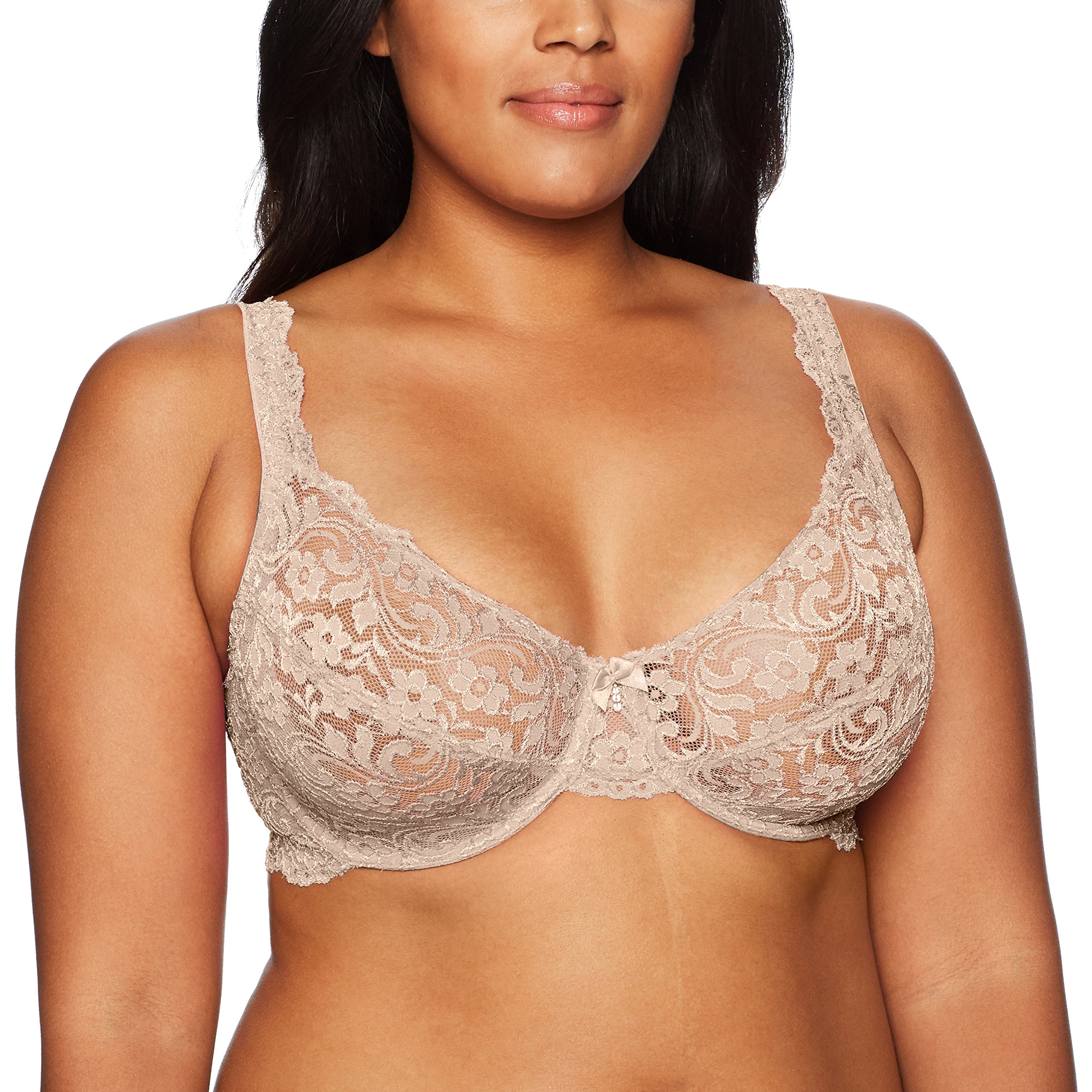 Smart+Sexy Women's Plus Size Curvy Signature Lace Unlined Underwire Bra with Added Support, in The Buff, 38DDD