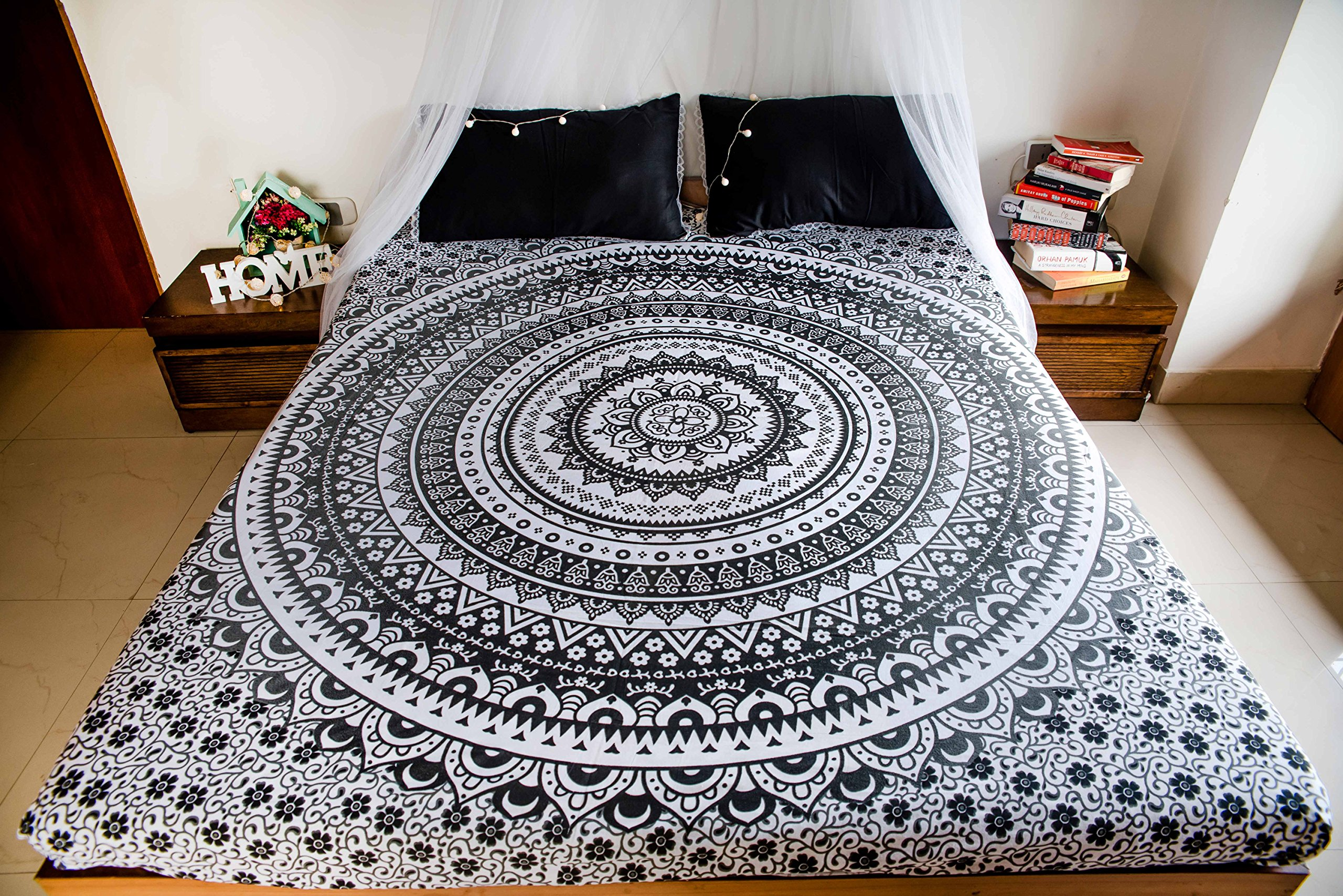 Intricate Mandala Tapestry Bedding with Pillow Covers, Indian Bohemian Hippie Tapestry Wall Hanging, Hippy Blanket or Beach Throw, Mandala Ombre Bedspread for Bedroom, Black Gray Queen Size Boho Decor