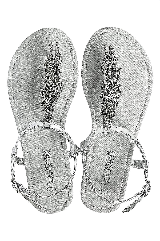5da7b3105fd3e Hailys Women s Thong Sandals Faux Leather Metallic (41