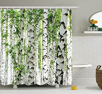 Woodland Decor Shower Curtain Set By Ambesonne, Birch Trees In The Forest  Summertime Wildlife Nature