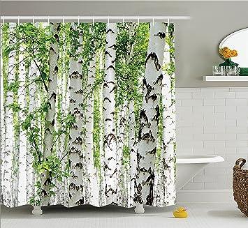 Amazon Woodland Decor Shower Curtain Set By Ambesonne Birch