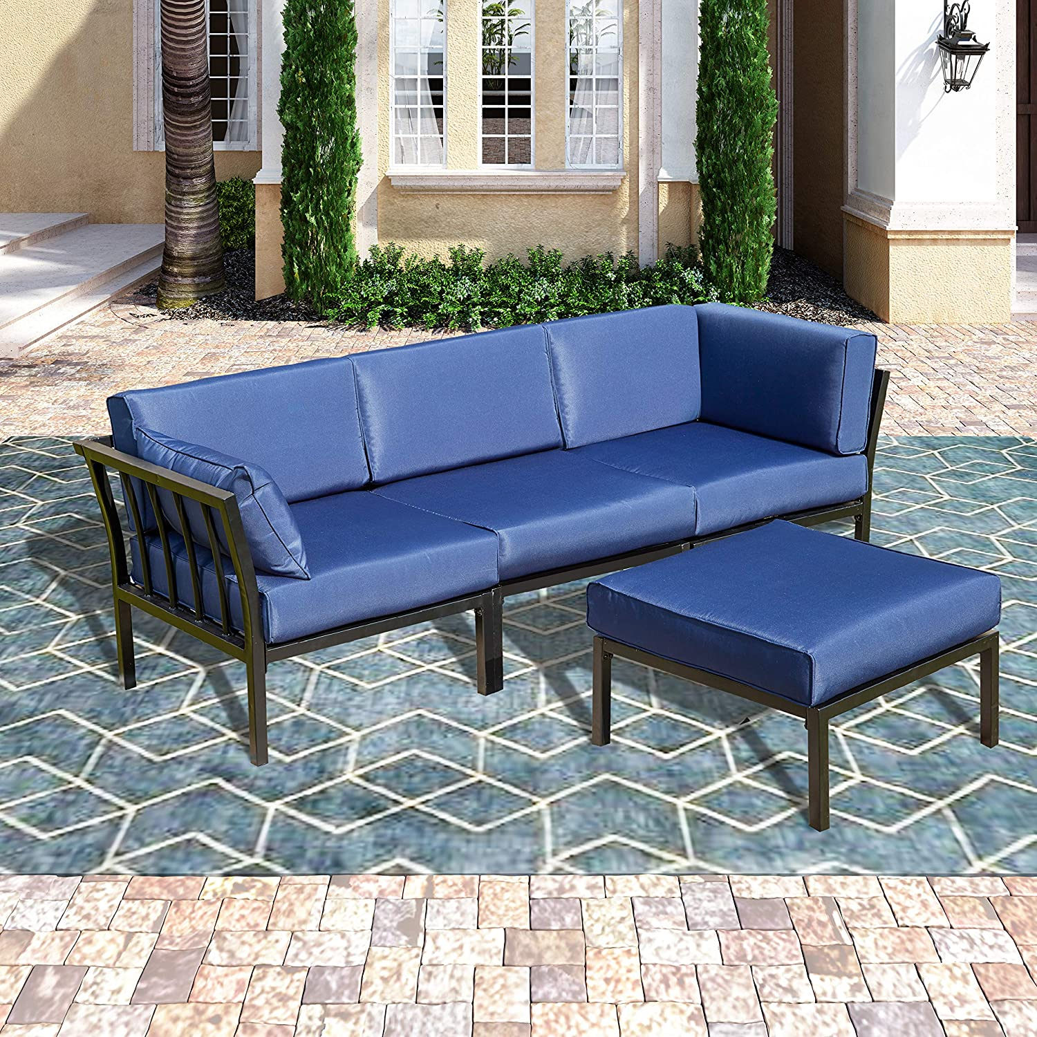 Patio Festival ® Conversation Set,Outdoor Metal Furniture 4 Seats All-Weather Sectional Sofa Set with Cushioned for Garden,Lawn,Pool