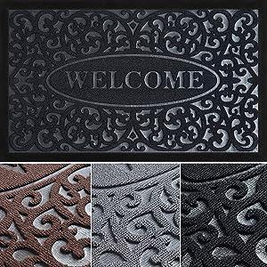 Welcome Mats for Front Door - Absorbing Door Mats for Home Entrance Outdoor - Stylish Welcome Mat - Indoor Door Mat - 30x18 Entryway Rug - Durable Doormat - Black Front Door Mat