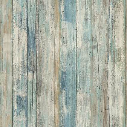 Roommates Distressed Wood Blue Peel And Stick Wallpaper Removable Wallpaper Self Adhesive Wallpaper