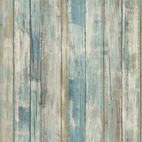 RoomMates RMK9052WP 28.18 Square Feet Blue Distressed Wood Peel And Stick Wallpaper  Décor