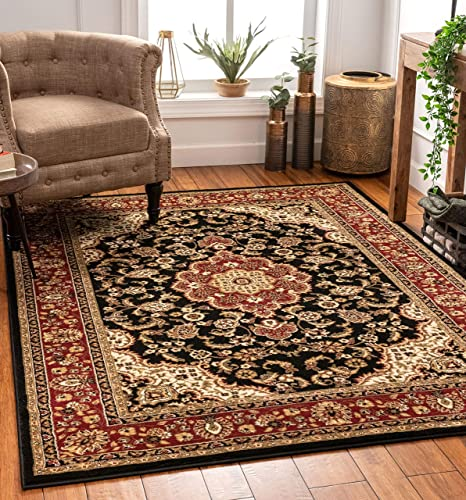 Well Woven Noble Medallion Black Persian Floral Oriental Formal Traditional Area Rug 9×13 9 3 x 12 6 Easy to Clean Stain Fade Resistant Shed Free Modern Contemporary Soft Living Dining Room Rug