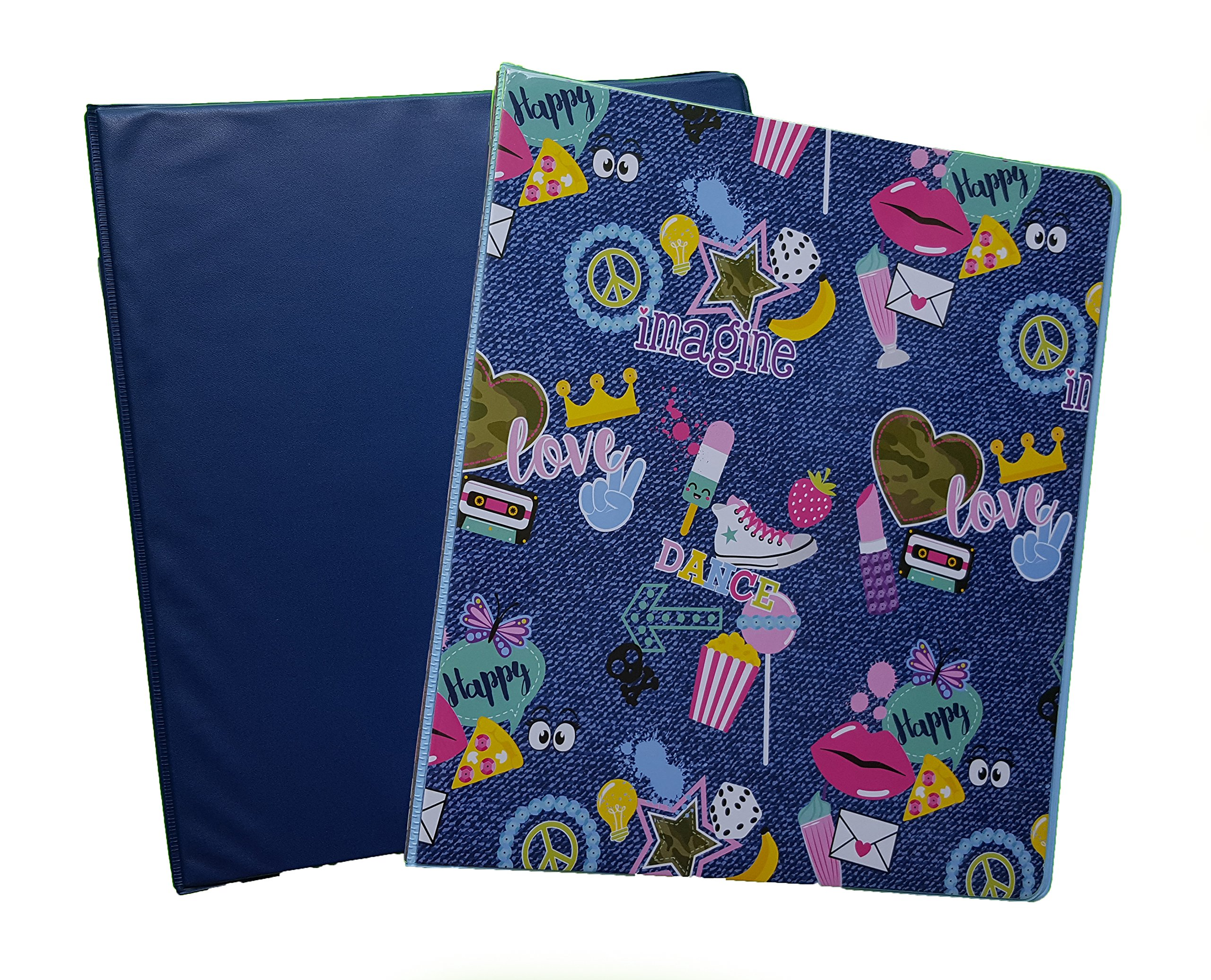 Fashion Colored Couture Vinyl 3-Ring Binders, 1'' Girls, Set of 2 (Navy)