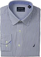 Nautica Men's Stripe Point Collar Dress Shirt