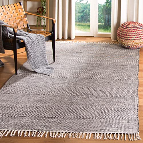 Safavieh Montauk Collection MTK330N Handmade Flatweave Ivory and Anthracite Cotton Area Rug 3 x 5