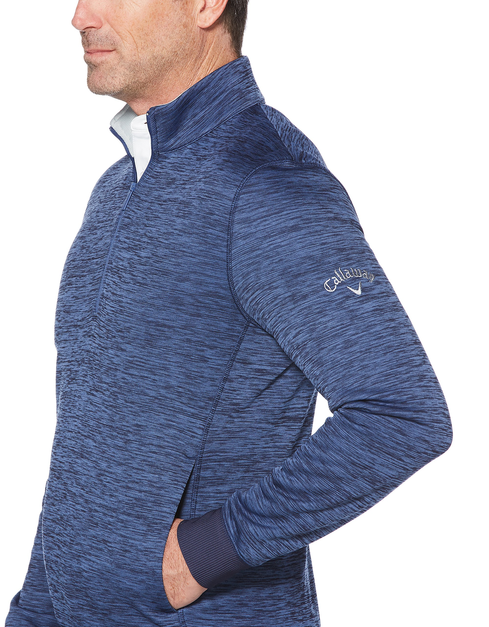 Callaway Men's Water Repellent 1/4 Zip Golf Pullover, Peacoat Heather, Medium by Callaway