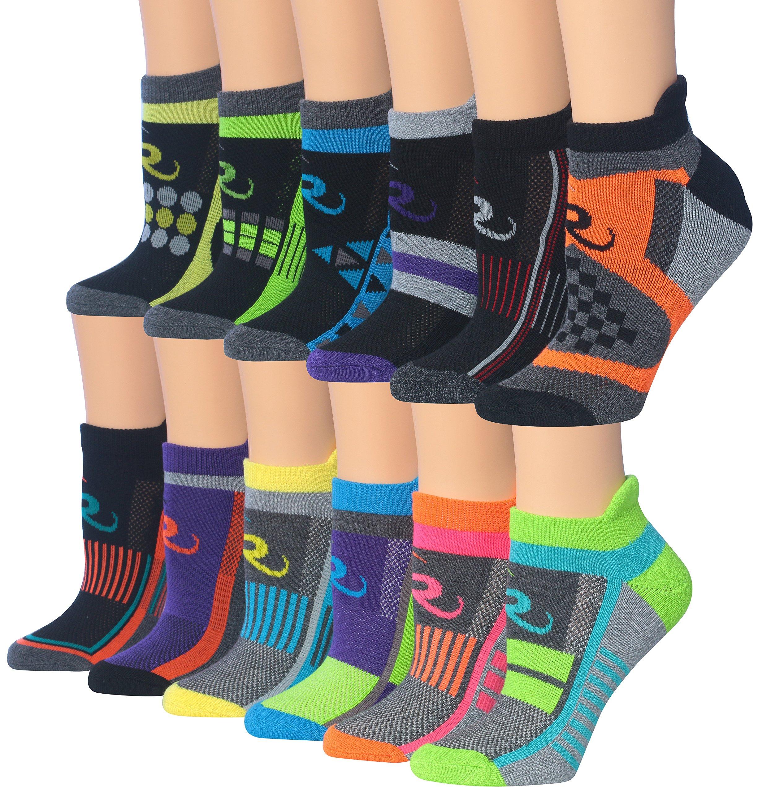 Ronnox Women's 12-Pairs Low Cut Running Athletic Performance Socks, RLT12-AB, Medium/Large