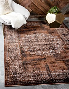 Unique Loom Imperial Collection Modern Traditional Vintage Distressed Chocolate Brown Area Rug (5' 0 x 8' 0)