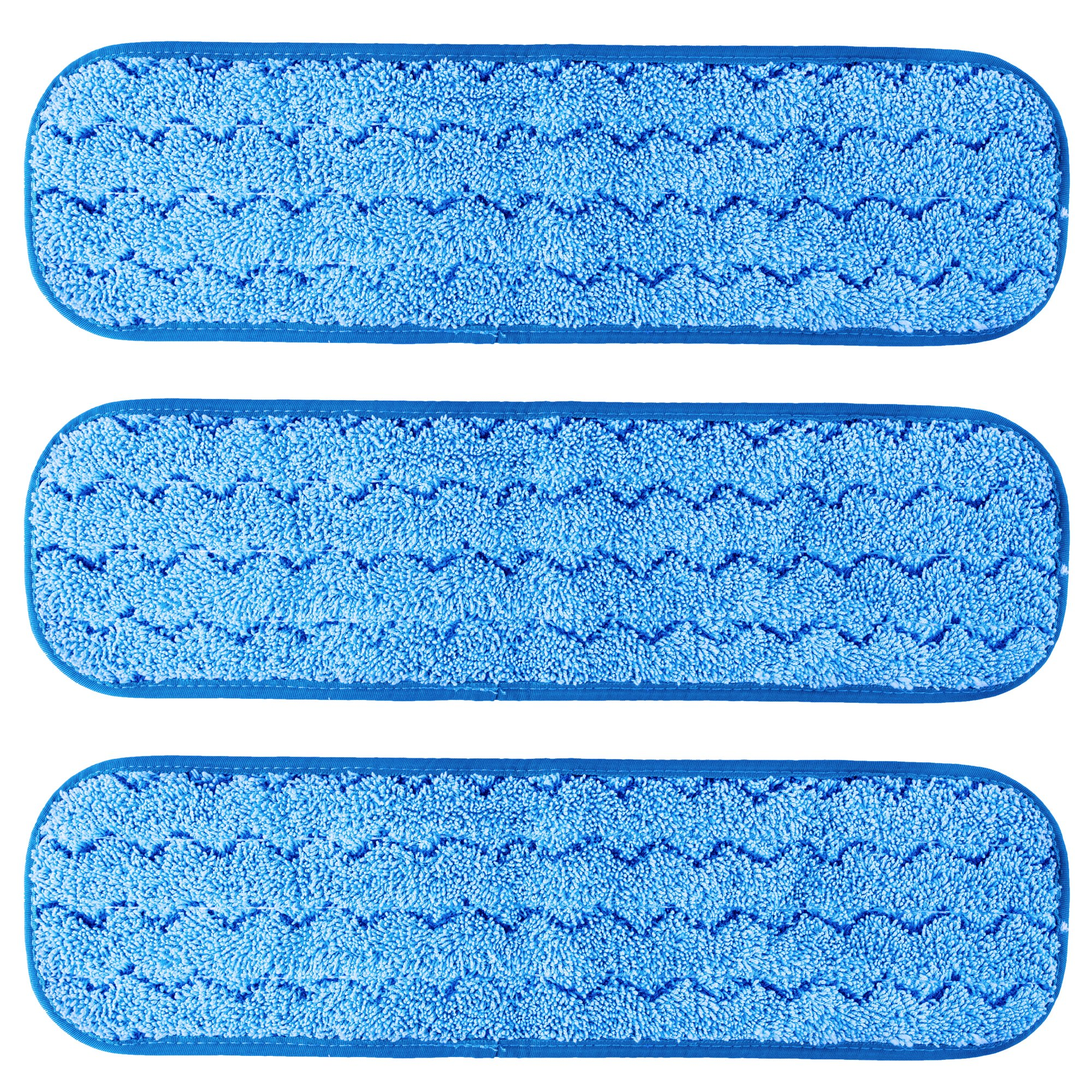 TEBEST 18'' Microfiber Replacement Mop Pads, Standard Looped Flat Wet Mop Home and Commercial Cleaning Refills (Blue2)