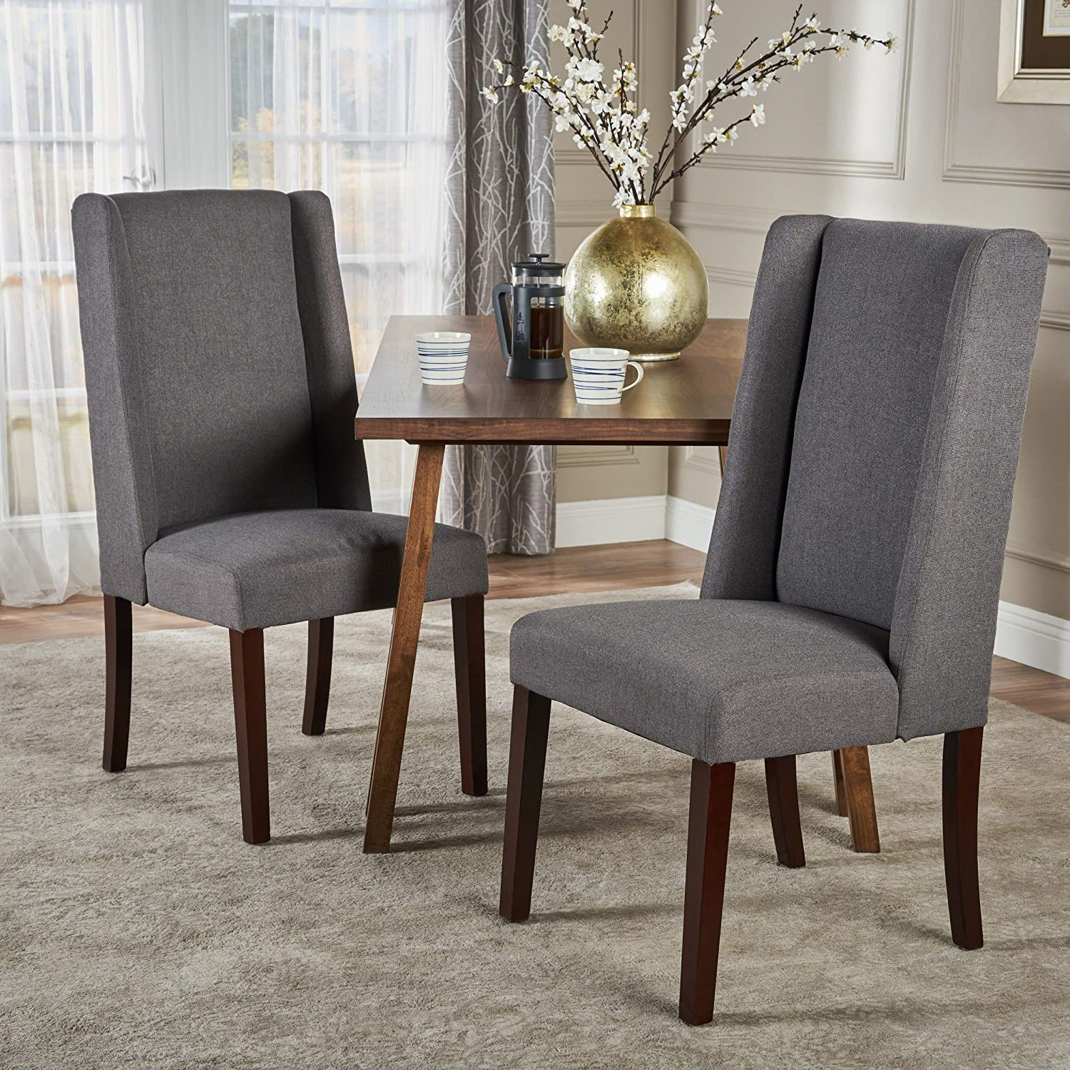 Christopher Knight Home Rory Fabric Dining Chair Set of 2 , Dark Grey