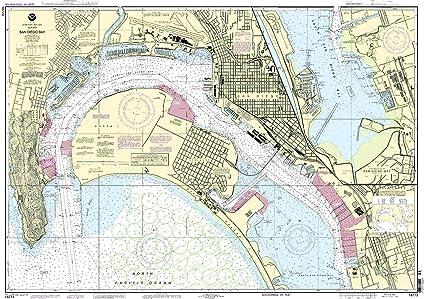 Amazon.com: NOAA Gráfico 18773: San Diego Bay: Sports & Outdoors