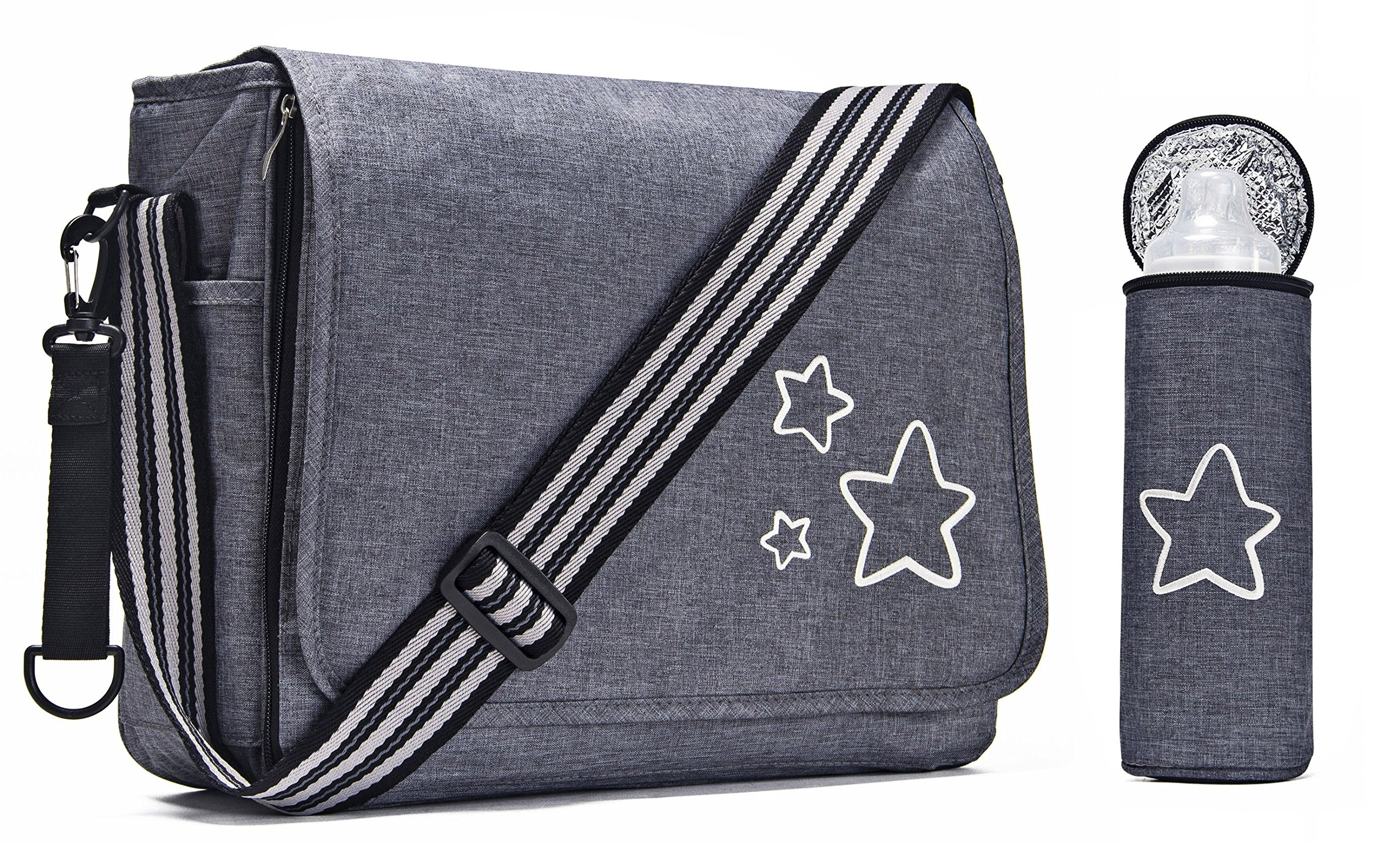 Amelitory Baby Stroller Organizer Diaper Bag,Adventure Messenger Diaper Bag with Cup Holders and Shoulder Strap (MessengerBag, Grey)
