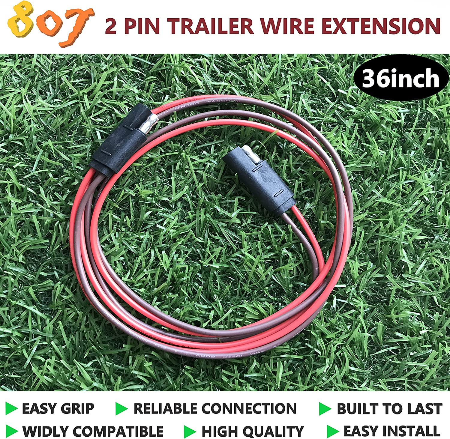 8 Way Square 807 2//3//4//5//6//8 Way Male and Female Trailer Wire Extension Connector,2//3//4//5//6//8 pin Trailer Plug 36inch for LED Brake Tailgate Light Bars,Trailer Wiring Harness Extension Connector