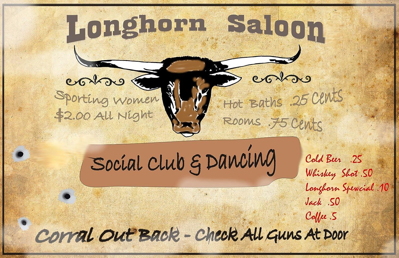 Amazon.com: A 12 x 18 Wood Sign Longhorn Saloon Ft. Worth Texas old ...