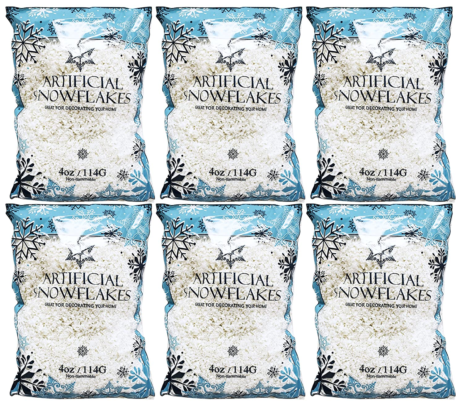 Set of 4 Ounces of Artificial Snow Flakes Bag Blue Printed Polybag by Black Duck Brand