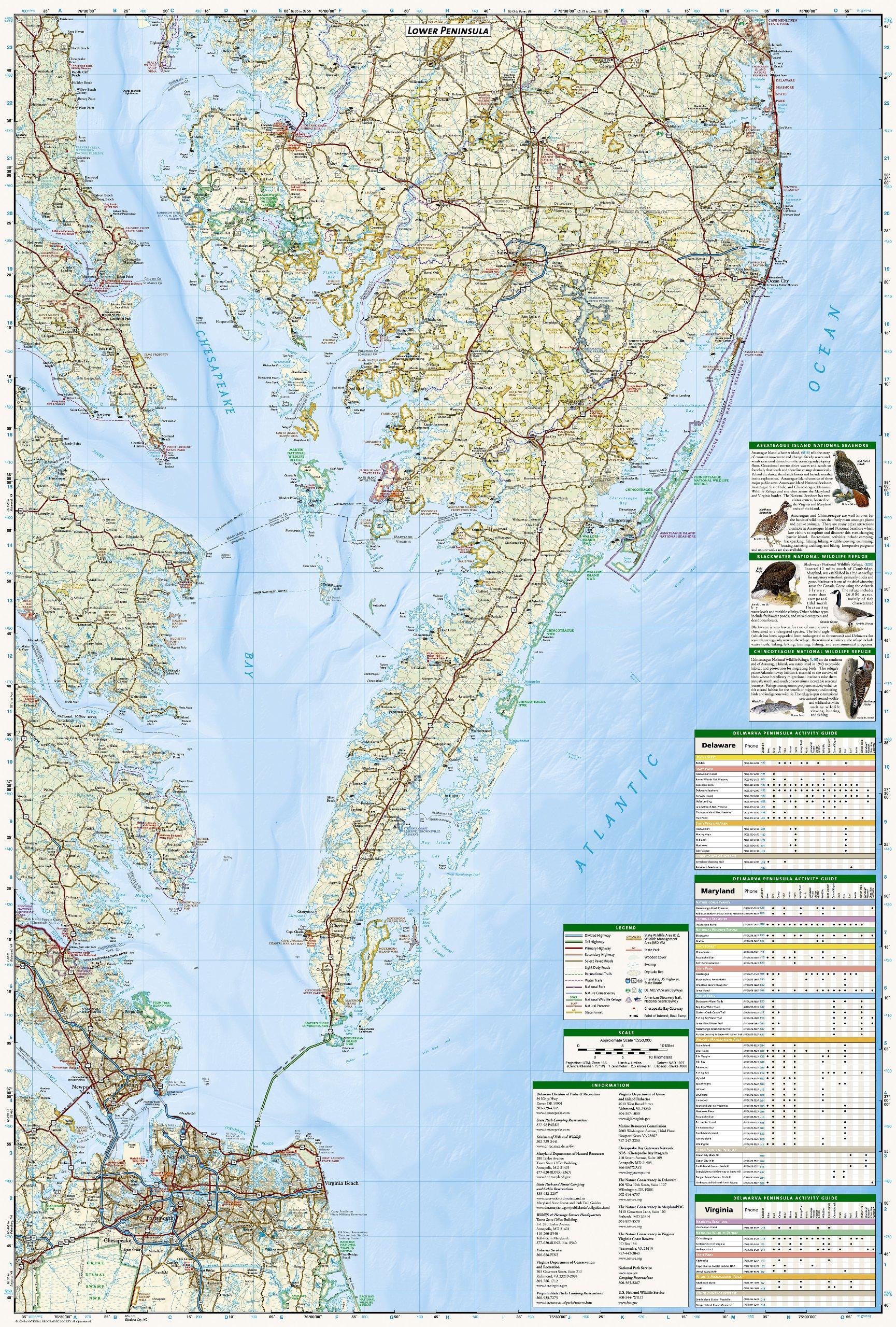 delmarva peninsula national geographic trails illustrated map