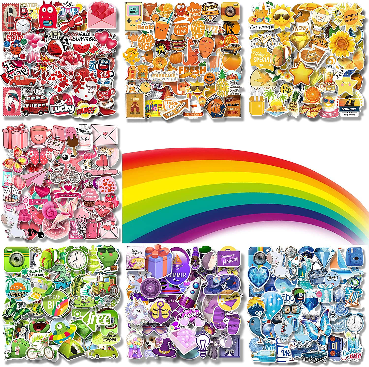 350-Pcs Rainbow Cute Color Series Stickers(50-350Pcs/Pack), Rainbow Style. Waterproof Cute Stickers for Teenagers, Children, and Adults. Vsco Stickers for Water Bottle.
