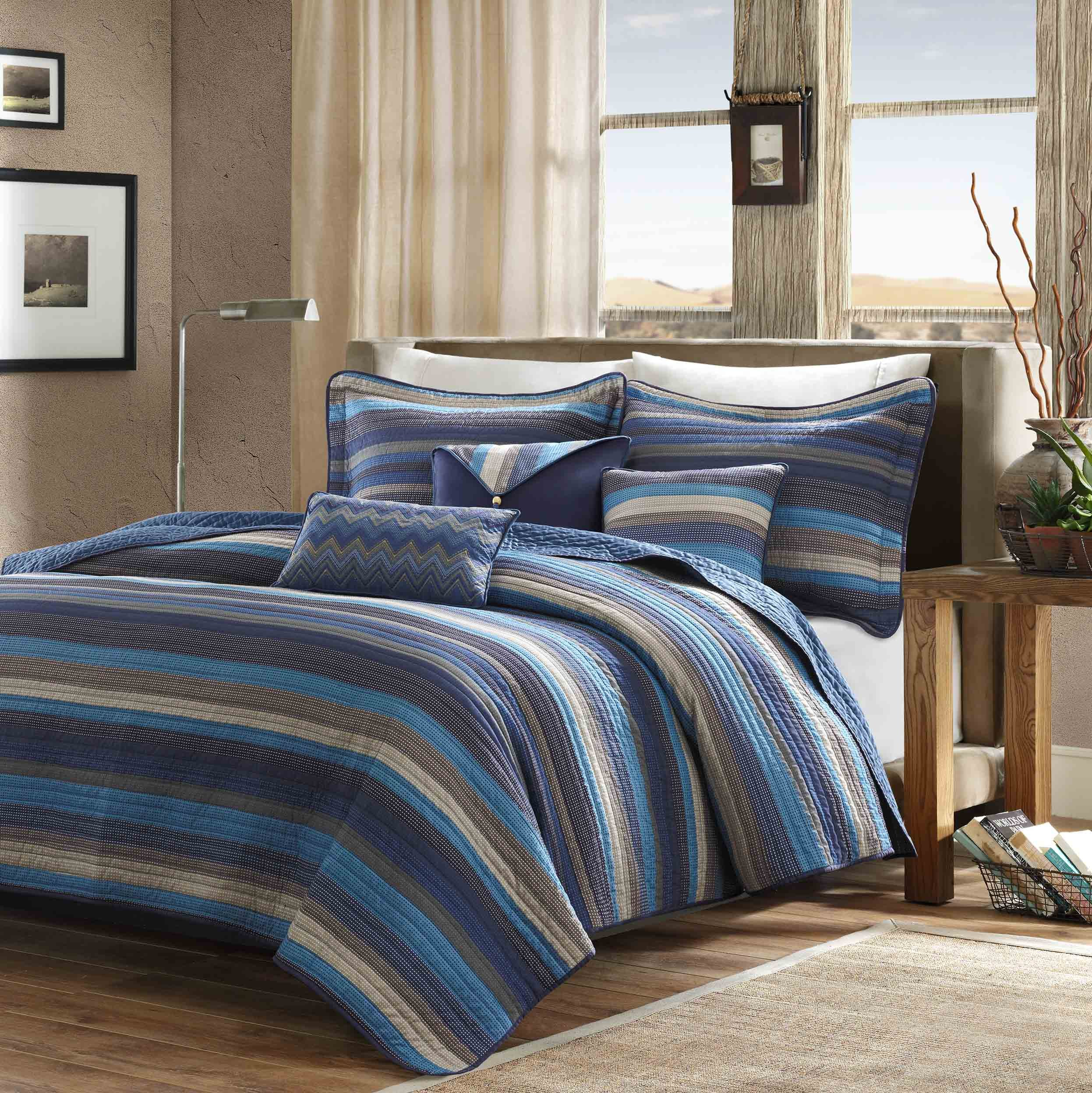 Madison Park Yosemite 6 Piece Quilted Coverlet Set, King/California King, Blue