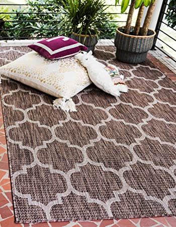 Unique Loom Outdoor Trellis Collection Casual Moroccan Lattice Transitional Indoor And Outdoor Flatweave Brown Beige Area Rug 4 0 X 6 0 Furniture Decor