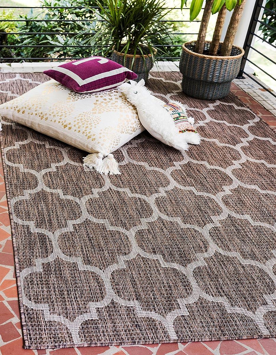 Unique Loom Outdoor Collection Casual Moroccan Lattice Geometric Brown Area Rug (4 x 6)
