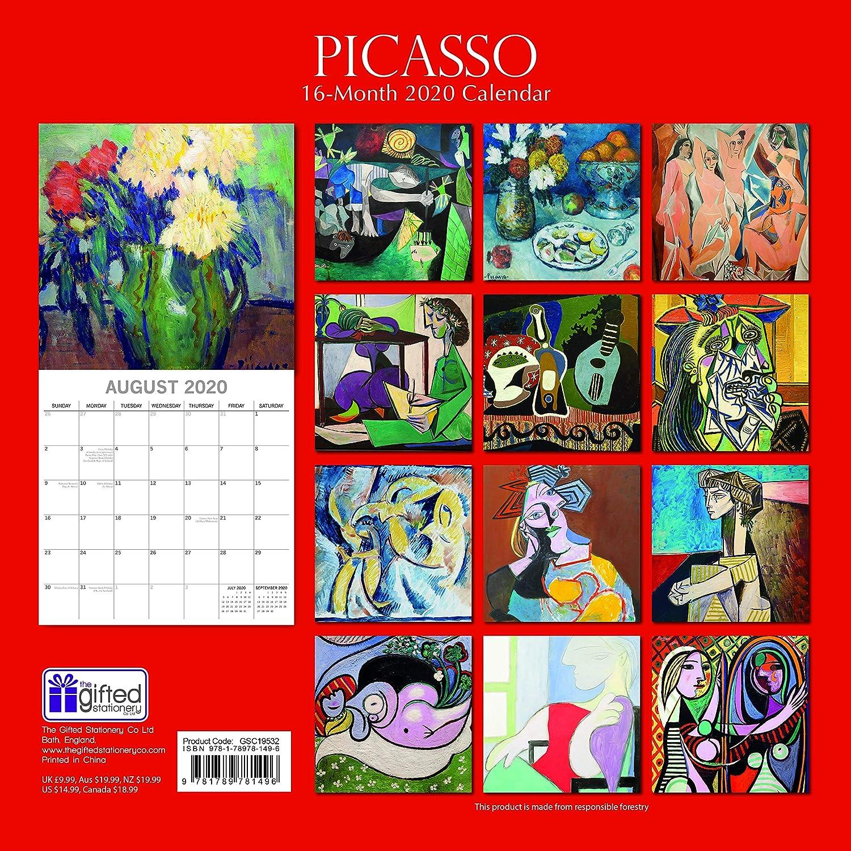 30 x 30 CM En Anglais Calendrier Picasso 16 Mois 2020 Calendrier Mural Comprend 180 Autocollants De Rappel Artistes C/él/èbres Et Le Th/ème /Œuvres Dart