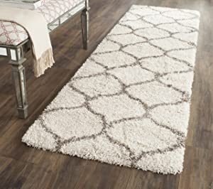 "Safavieh Hudson Shag Collection SGH280A Ivory and Grey Moroccan Ogee Plush Runner (2'3"" x 6')"