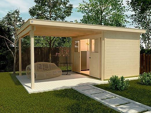 Caseta con salón Weka 225 A Tamaño 1, natural, 21 mm, puerta corredera, salón de 300 cm, sin RW: Amazon.es: Jardín