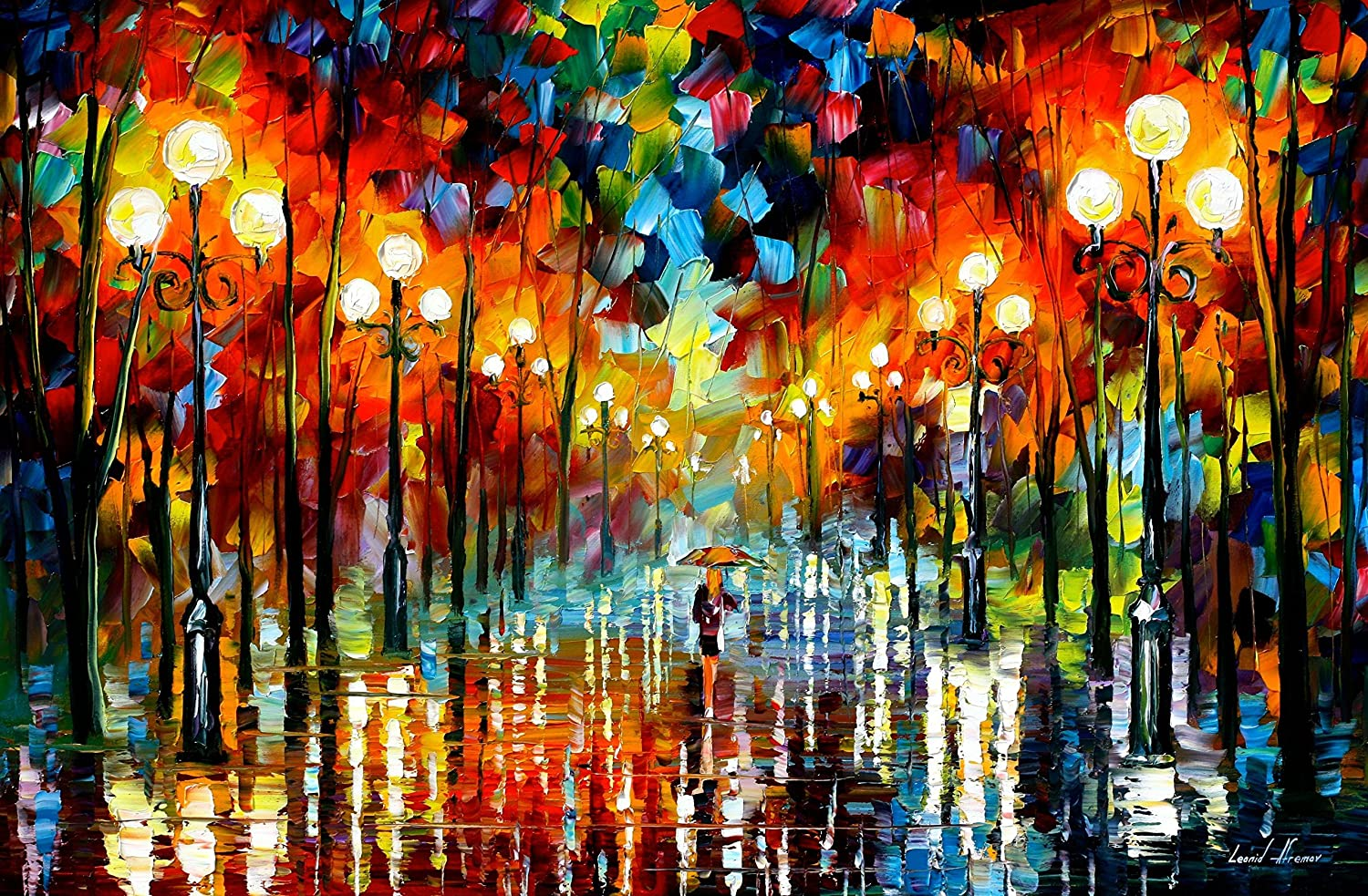 Raindrop Painting Alley Wall Art On Canvas By Leonid Afremov - A Date With The Rain