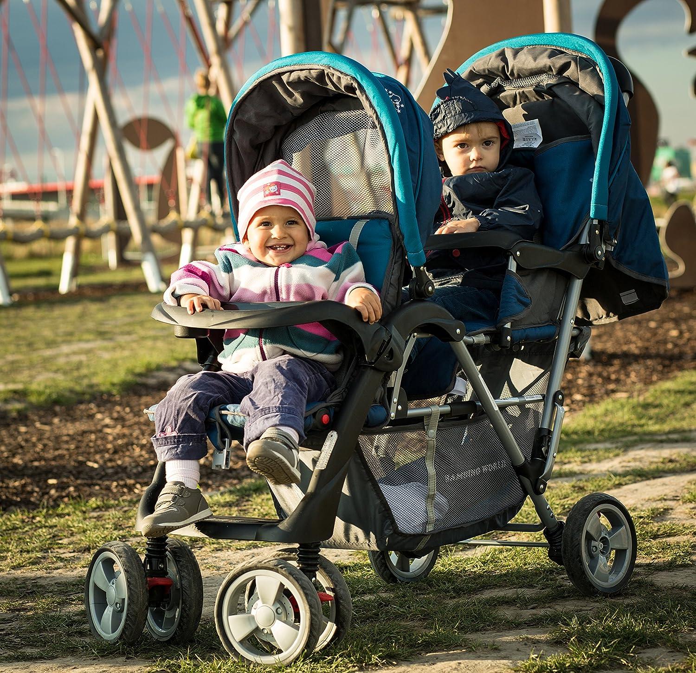 BambinoWorld Cochecito gemelos turquesa Exclusivo Tandem