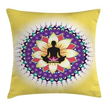 Amazon.com: Ambesonne - Funda de cojín para yoga, diseño ...