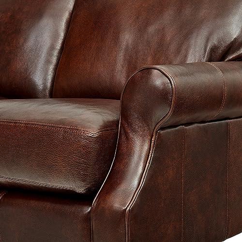 Stone Beam Charles Classic Oversized Leather Sofa, 92 W, Walnut