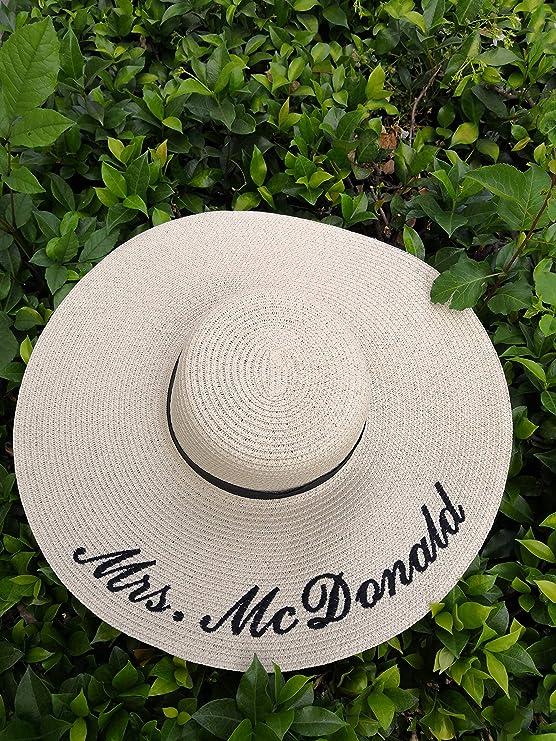Custom Floppy Sun Hat with Burgundy Font  Women/'s Summer Floppy Straw Hat